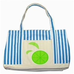 Fruit Lime Green Striped Blue Tote Bag by Alisyart