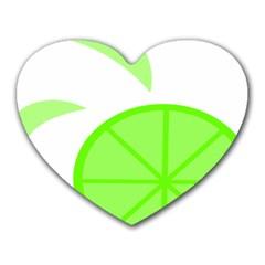 Fruit Lime Green Heart Mousepads by Alisyart