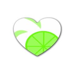 Fruit Lime Green Heart Coaster (4 Pack)  by Alisyart