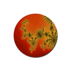 Decorative Fractal Spiral Rubber Coaster (round)  by Simbadda