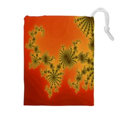 Decorative Fractal Spiral Drawstring Pouches (extra Large) by Simbadda