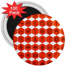 Icon Library Web Icons Internet Social Networks 3  Magnets (100 Pack) by Simbadda