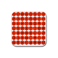 Icon Library Web Icons Internet Social Networks Rubber Square Coaster (4 Pack)  by Simbadda