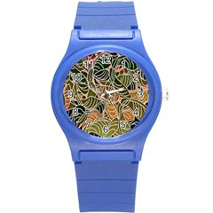 Floral Pattern Background Round Plastic Sport Watch (s) by Simbadda