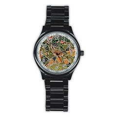 Floral Pattern Background Stainless Steel Round Watch by Simbadda