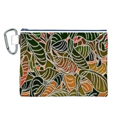 Floral Pattern Background Canvas Cosmetic Bag (l) by Simbadda