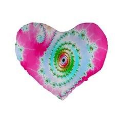 Decorative Fractal Spiral Standard 16  Premium Flano Heart Shape Cushions by Simbadda
