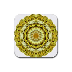 Fractal Flower Rubber Square Coaster (4 Pack)  by Simbadda