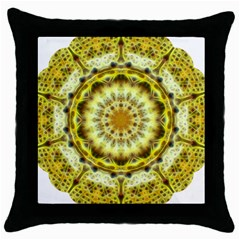 Fractal Flower Throw Pillow Case (black) by Simbadda