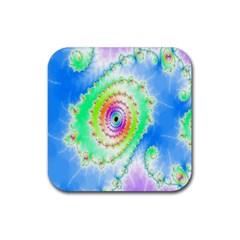 Decorative Fractal Spiral Rubber Square Coaster (4 Pack)  by Simbadda