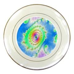 Decorative Fractal Spiral Porcelain Plates by Simbadda