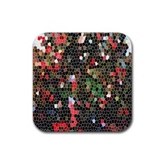 Colorful Abstract Background Rubber Coaster (square)  by Simbadda