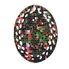Colorful Abstract Background Oval Filigree Ornament (two Sides) by Simbadda