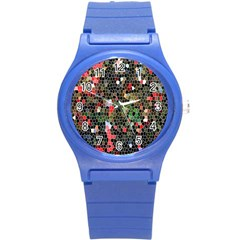Colorful Abstract Background Round Plastic Sport Watch (s) by Simbadda