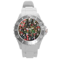 Colorful Abstract Background Round Plastic Sport Watch (l) by Simbadda