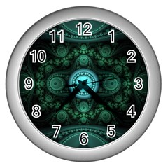 Grand Julian Fractal Wall Clocks (silver)  by Simbadda