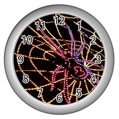 Black Widow Spider, Yellow Web Wall Clocks (silver)  by Simbadda
