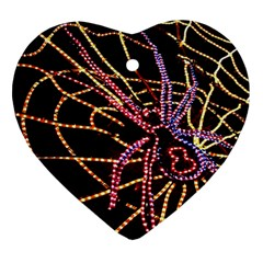 Black Widow Spider, Yellow Web Heart Ornament (two Sides) by Simbadda