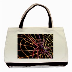 Black Widow Spider, Yellow Web Basic Tote Bag (two Sides) by Simbadda