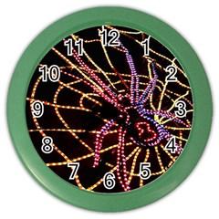 Black Widow Spider, Yellow Web Color Wall Clocks by Simbadda