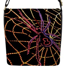 Black Widow Spider, Yellow Web Flap Messenger Bag (s) by Simbadda