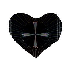 Fractal Rays Standard 16  Premium Flano Heart Shape Cushions by Simbadda