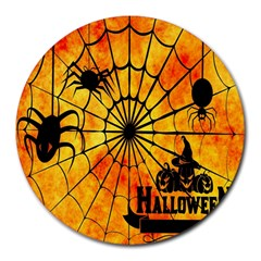 Halloween Weird  Surreal Atmosphere Round Mousepads by Simbadda