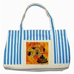 Halloween Weird  Surreal Atmosphere Striped Blue Tote Bag by Simbadda