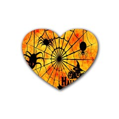 Halloween Weird  Surreal Atmosphere Rubber Coaster (heart)  by Simbadda