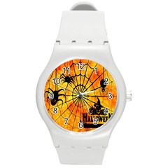 Halloween Weird  Surreal Atmosphere Round Plastic Sport Watch (m) by Simbadda