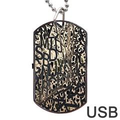 Wallpaper Texture Pattern Design Ornate Abstract Dog Tag Usb Flash (one Side) by Simbadda