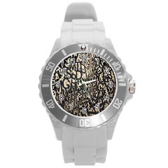 Wallpaper Texture Pattern Design Ornate Abstract Round Plastic Sport Watch (l) by Simbadda