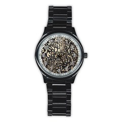 Wallpaper Texture Pattern Design Ornate Abstract Stainless Steel Round Watch by Simbadda