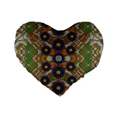 Fleur Flower Porcelaine In Calm Standard 16  Premium Heart Shape Cushions by pepitasart