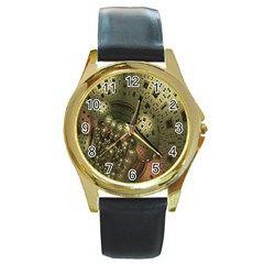 Geometric Fractal Cuboid Menger Sponge Geometry Round Gold Metal Watch by Simbadda