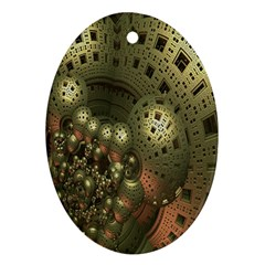 Geometric Fractal Cuboid Menger Sponge Geometry Oval Ornament (two Sides) by Simbadda