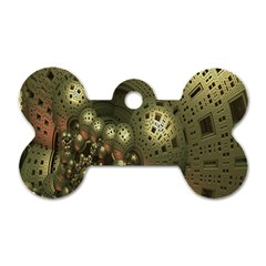 Geometric Fractal Cuboid Menger Sponge Geometry Dog Tag Bone (two Sides) by Simbadda