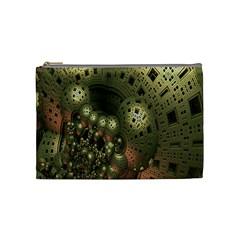 Geometric Fractal Cuboid Menger Sponge Geometry Cosmetic Bag (medium)  by Simbadda