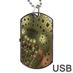 Geometric Fractal Cuboid Menger Sponge Geometry Dog Tag Usb Flash (two Sides) by Simbadda