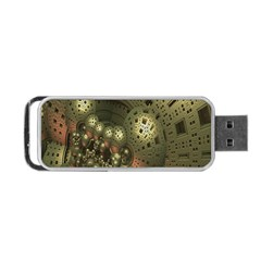 Geometric Fractal Cuboid Menger Sponge Geometry Portable Usb Flash (one Side) by Simbadda