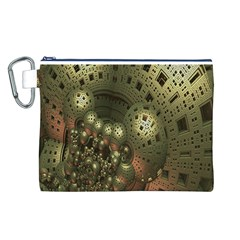 Geometric Fractal Cuboid Menger Sponge Geometry Canvas Cosmetic Bag (l) by Simbadda