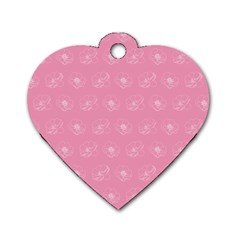 Pink Pattern Dog Tag Heart (one Side) by Valentinaart