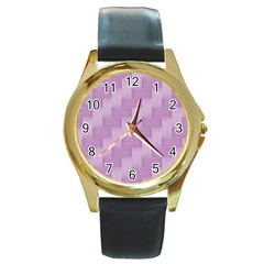Purple Pattern Round Gold Metal Watch by Valentinaart