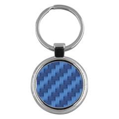 Blue Pattern Key Chains (round)  by Valentinaart