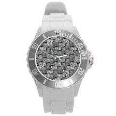 Gray Pattern Round Plastic Sport Watch (l) by Valentinaart