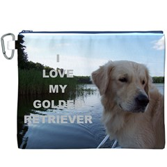 Golden Retriver Love W Pic Canvas Cosmetic Bag (XXXL) by TailWags
