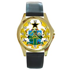 Coat Of Arms Of Ghana Round Gold Metal Watch by abbeyz71