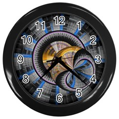 Fractal Tech Disc Background Wall Clocks (black) by Simbadda