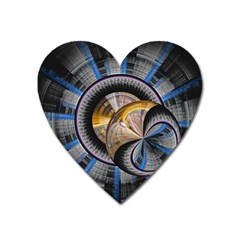 Fractal Tech Disc Background Heart Magnet by Simbadda