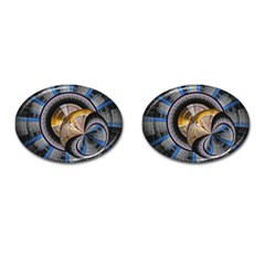 Fractal Tech Disc Background Cufflinks (oval) by Simbadda